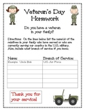 Veteran's Day Homework