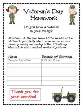 Veteran's Day Homework