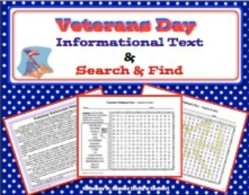 Veterans Day Informational Text and Search and Find