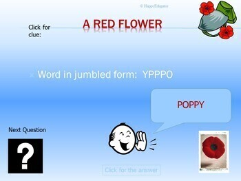 Veterans Day PowerPoint Game - Jumbled Words