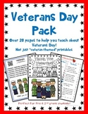 Veterans Day Kindergarten, First Grade, Second Grade, or Pre-school