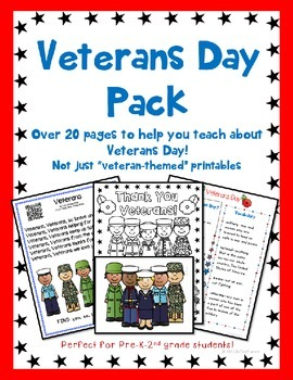 Veterans Day Kindergarten, First Grade, Second Grade, or Pre-school