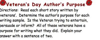 Veteran's Day Language Activity - Author's Purpose & Interpretation
