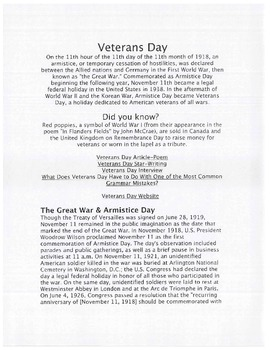 Veterans Day Lesson