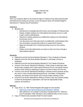 Veterans Day Lesson Plan