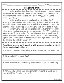 Veterans Day Literacy Activities and Craft