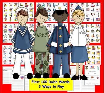 Veterans' Day Literacy Centers:  Sight Words Activities-Set 1 of 2