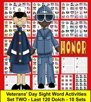 Veterans' Day Literacy Centers: Sight Words Activities-Set 2 of 2