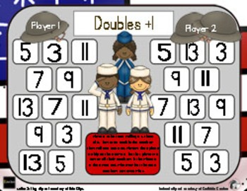 Veterans Day Math - A Doubles Plus One Strategy Addition Game - 3 Versions