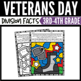 Veterans Day Math Division Color-by-Number Worksheets