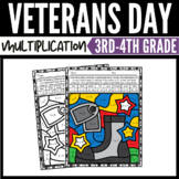 Veterans Day Math Multiplication Color-by-Number Worksheets