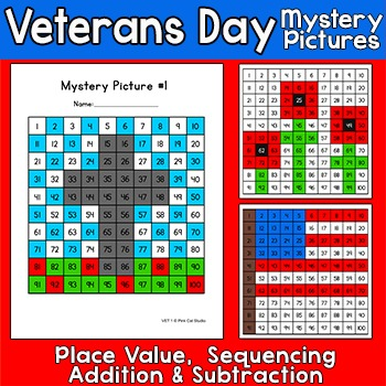 Veterans Day Math Mystery Pictures - American Flag, Poppies, Cross