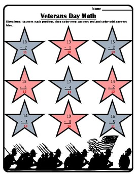 #1 Veterans Day Math Veterans Day Color by Number Subtraction Veteran's Day Math