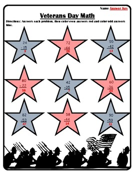 #3 Veterans Day Math Activities Color by Number Subtraction Veteran's Day Math