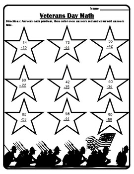 #2 Veterans Day Math Veterans Day Color by Number Subtraction Veteran's Day Math