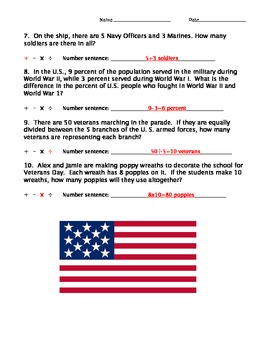 Veterans Day Math Word Problems