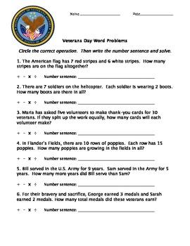 Veterans Day Math Word Problems