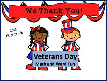 Veterans Day Math and Word Fun (2 readers, vocab., add, subtract, skip count)