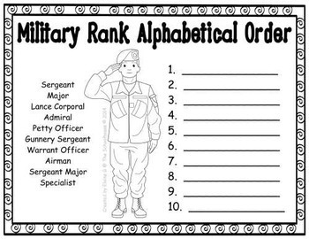 Veterans Day or Memorial Day Alphabetical Order Sheets (Armed Forces/Military)