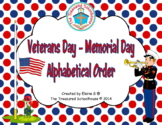 Veterans Day or Memorial Day Alphabetical Order Sheets (Ar