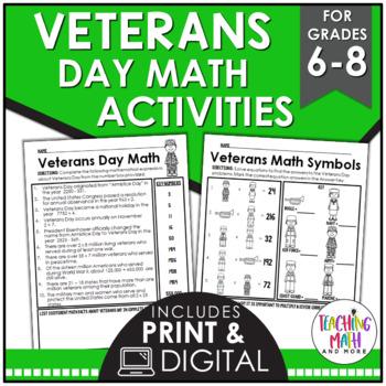 Veterans Day Middle School Math Activities