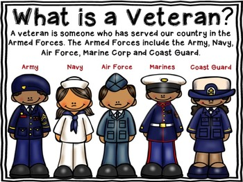 Veterans Day {Military Branches} Book and Activities Color and B&W