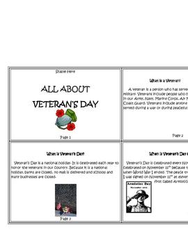 Veteran's Day Mini-Book and Reading Comprehension