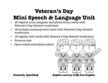 Veteran's Day Mini Speech & Language Unit