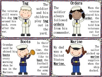 Veterans Day Multiple Meaning Words Game