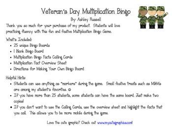 Veteran's Day Multiplication Bingo