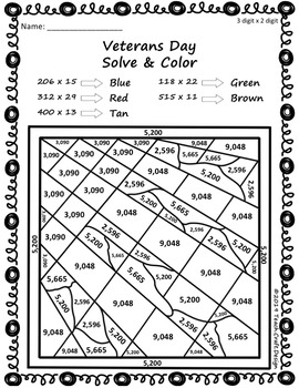Veterans Day Multiplication Solve and Color Worksheets
