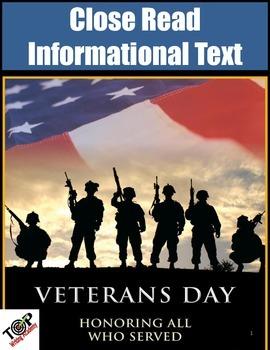Veterans Day Activities Non-Fiction Close Reading