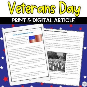 Veterans Day Nonfiction Activity and Article