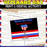 Veterans Day Worksheets Activity