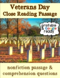 Veterans Day Nonfiction Close Reading Comprehension Passage and Questions