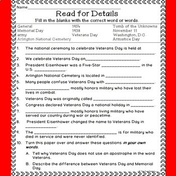 Veterans Day Literacy and Social Studies Activities