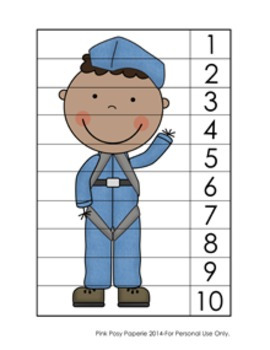 Veterans Day Number Counting Strip Puzzles - 5 Designs