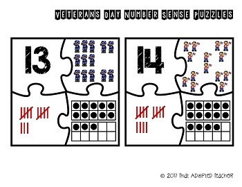 Veterans Day Number Sense Puzzles