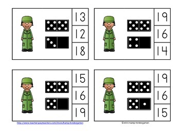Veterans Day Numerals to 20 Clip Cards