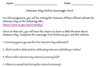 Veterans Day Online Scavenger Hunt