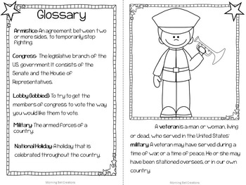 Veterans Day: Original Book, Glossary, and Comprehension Activities