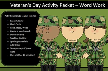 Veteran's Day Packet, 20 words -20 activities of NO PREP word work-50+ pages