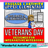 Veterans Day: Reading Passage and Activity: Interactive Notebook
