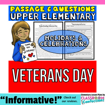 Veterans Day: Reading Passage and Questions: Reading Comprehension Activity