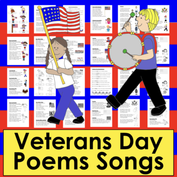 Veterans' Day Activities:  Patriotic Poems, Songs, Finger Puppets
