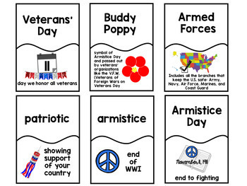 Veterans' Day Picture Dictionary