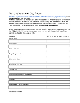 Veterans Day Poem Writing