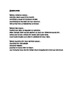 Veterans Day Poem-Writing Activities