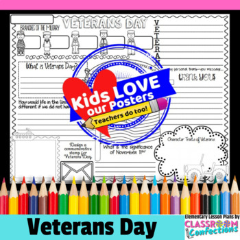 Veterans Day Writing Activity: Fun Veterans Day Activity Poster