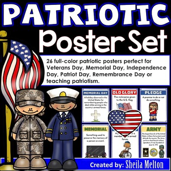 Patriotic Poster Set (Veterans Day, Memorial Day) Student Vocabulary Book